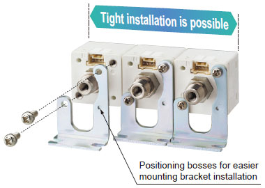 An exclusive mounting bracket that supports tight installation is available