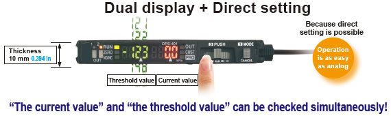 Current value and threshold value can be checked simultaneously on the dual display